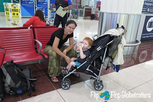 FlipFlopGlobetrotters.com - Blog: tips for flying with infants and toddlers - waiting for an early morning flight