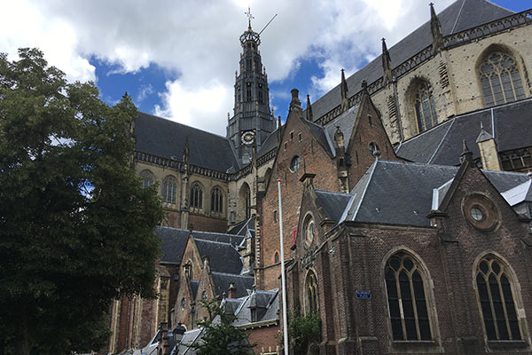 FlipFlopGlobetrotters.com - blog: day trip to Haarlem Netherlands with kids - Outside of the St Bavo Church