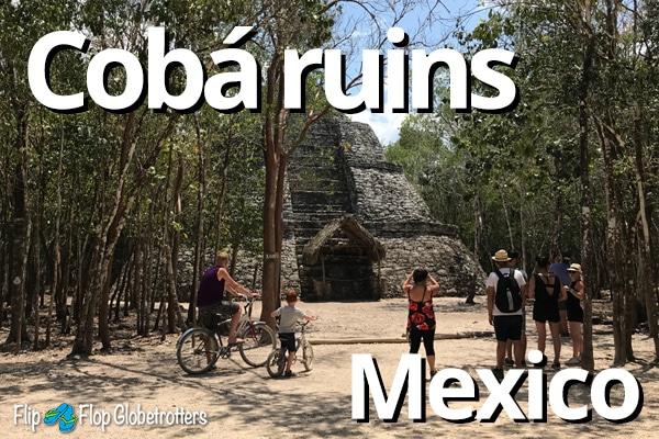 FlipFlopGlobetrotters -  exploring Coba ruins Mexico by bike
