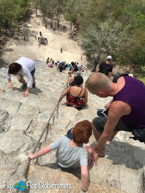 FlipFlopGlobetrotters - climbing Coba pyramid