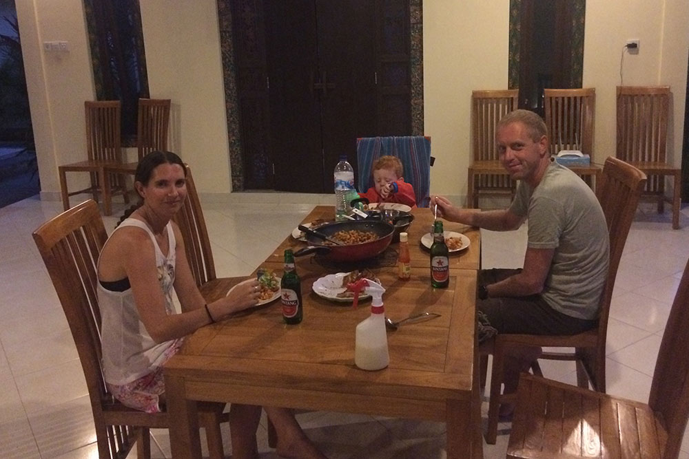 Having a home cooked meal with our friend Tracey at Star East Bungalows