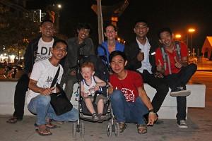 Group of students we met on the Makassar Losari Beach boulevard