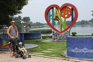 Father and son in Hanoi