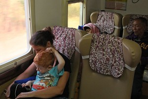 Lots of space on the train from Yogya to Jakarta