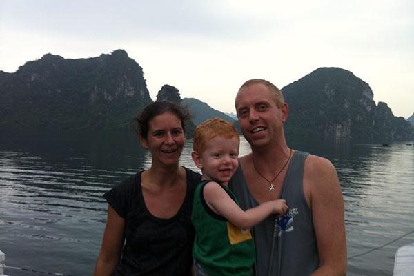 One of our fellow traveler kindly offered to take our picture at Halong Bay.