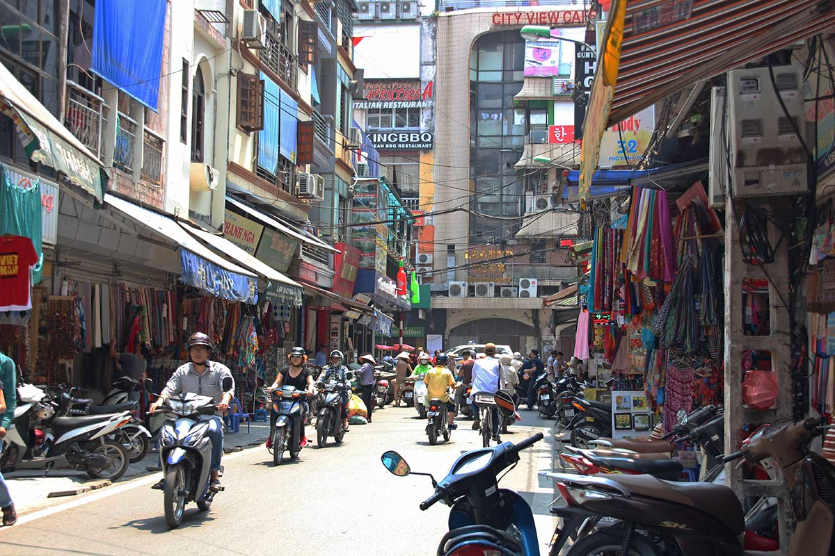 Typical street view of Hanoi's Old Quarter