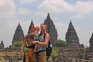 Family pic at Prambanan, taken before we chased Jace around for two hours