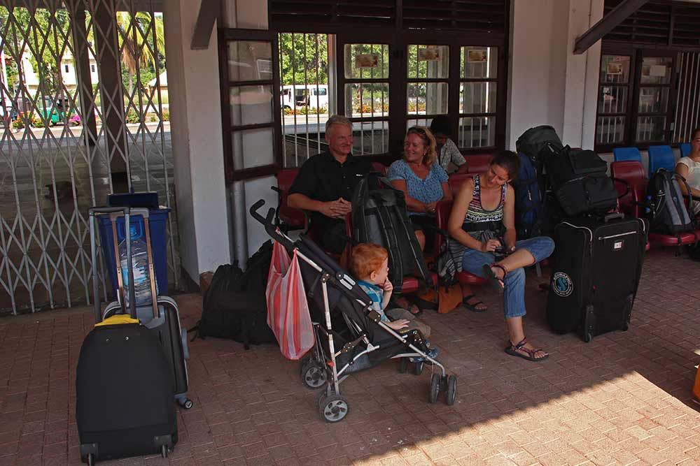 Waiting at Anuradhapura station for the train to Jaffna