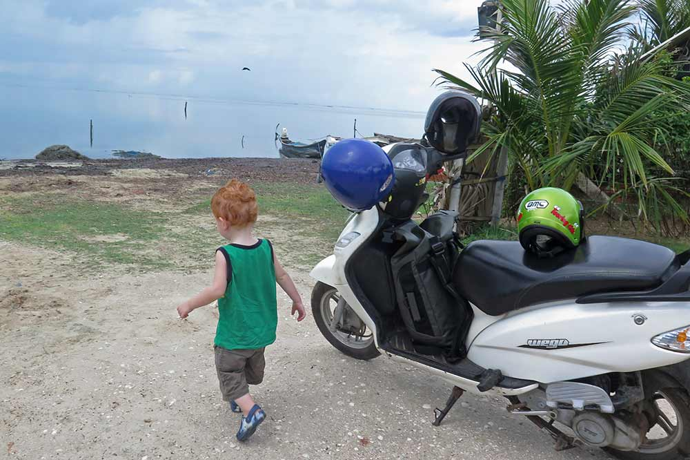 Jace with the motorbike we rented in Jaffna