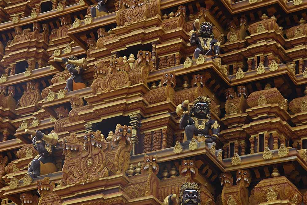 Detail of Nallur Kandaswamy Kovil, a big Hindu temple, in Jaffna