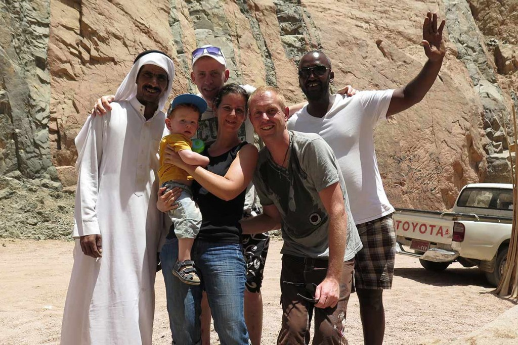 Group picture! Great trip to the oasis with Sameh, Eid and Mau's brother Robin in Dahab