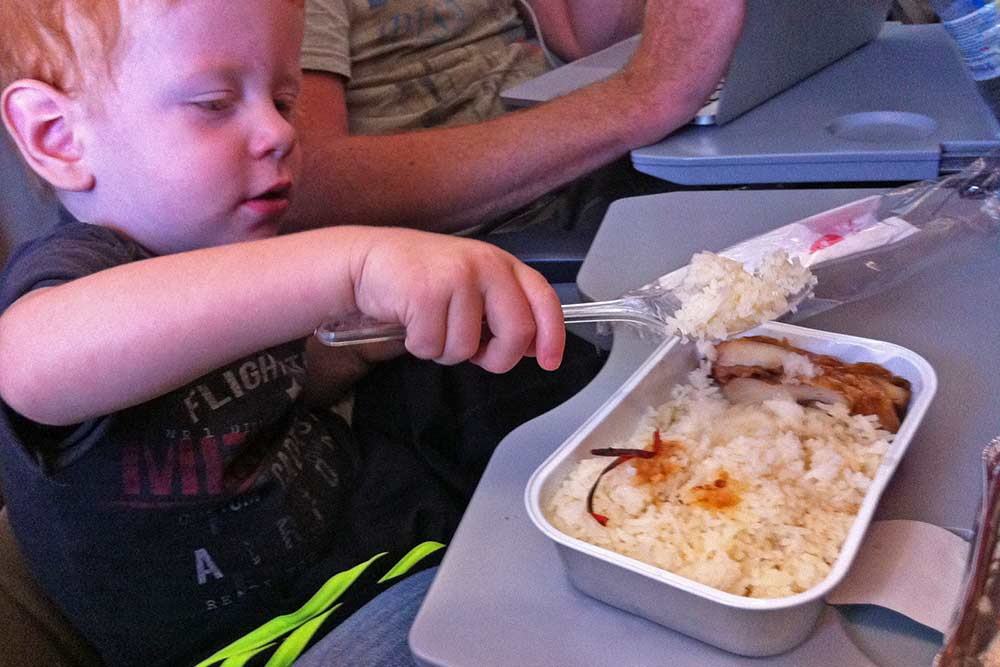 Jace loved the plane food.