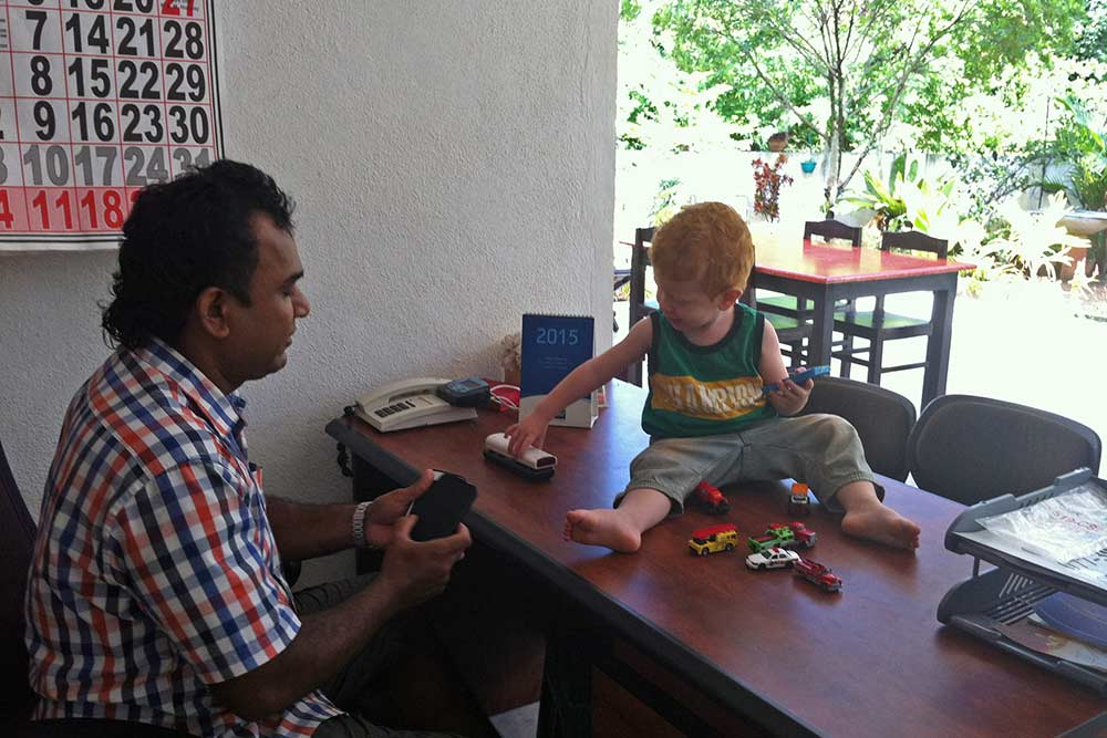 Harindra the owner of Bevary Holiday Home loved playing with Jace
