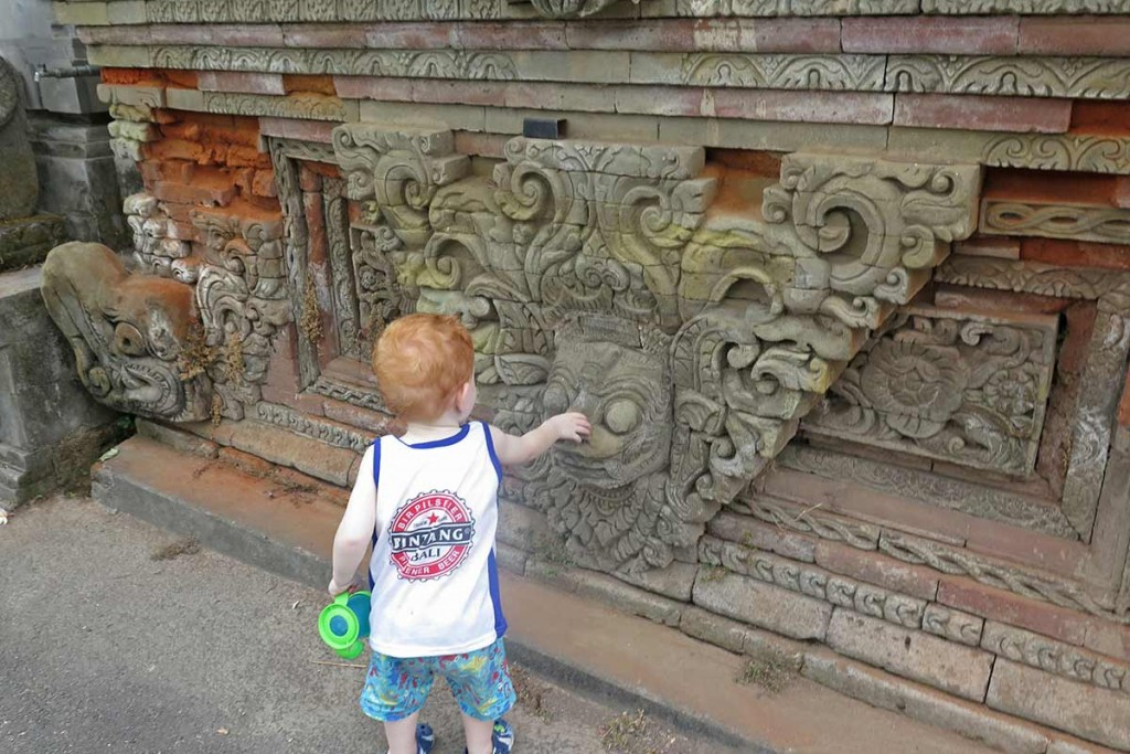Jace's first time at a temple. He was fascinated by all the statues and carvings