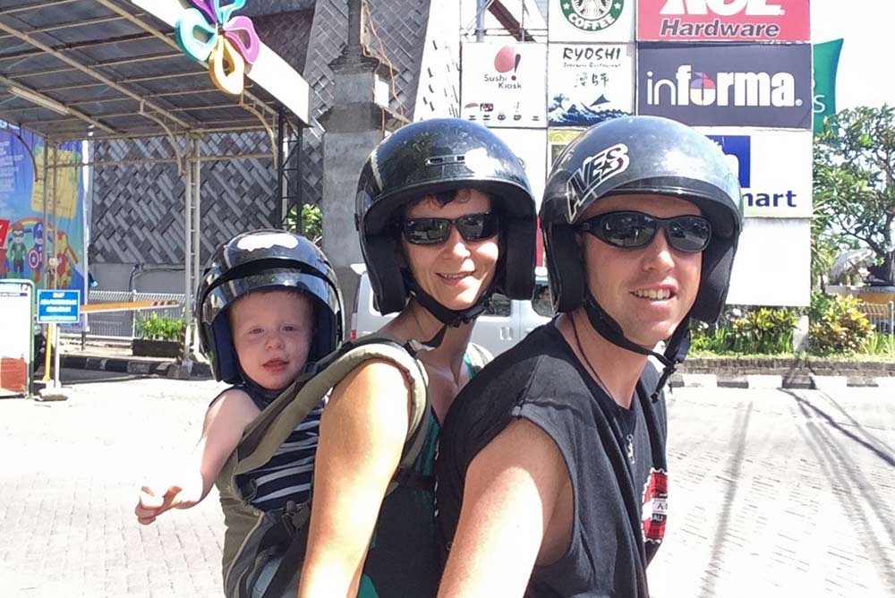 One of our first times on the motorbike with the three of us in Sanur, Bali