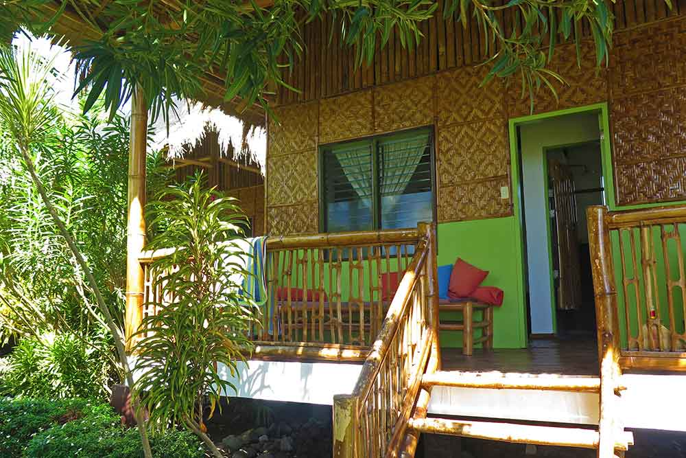 The front of our cabin, nice balcony with comfortable sitting area
