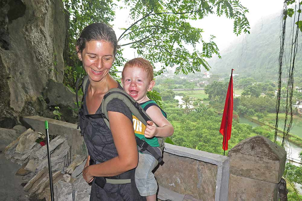 Jace in the Manduca at the hospital cave at Cat Ba Island in Vietnam