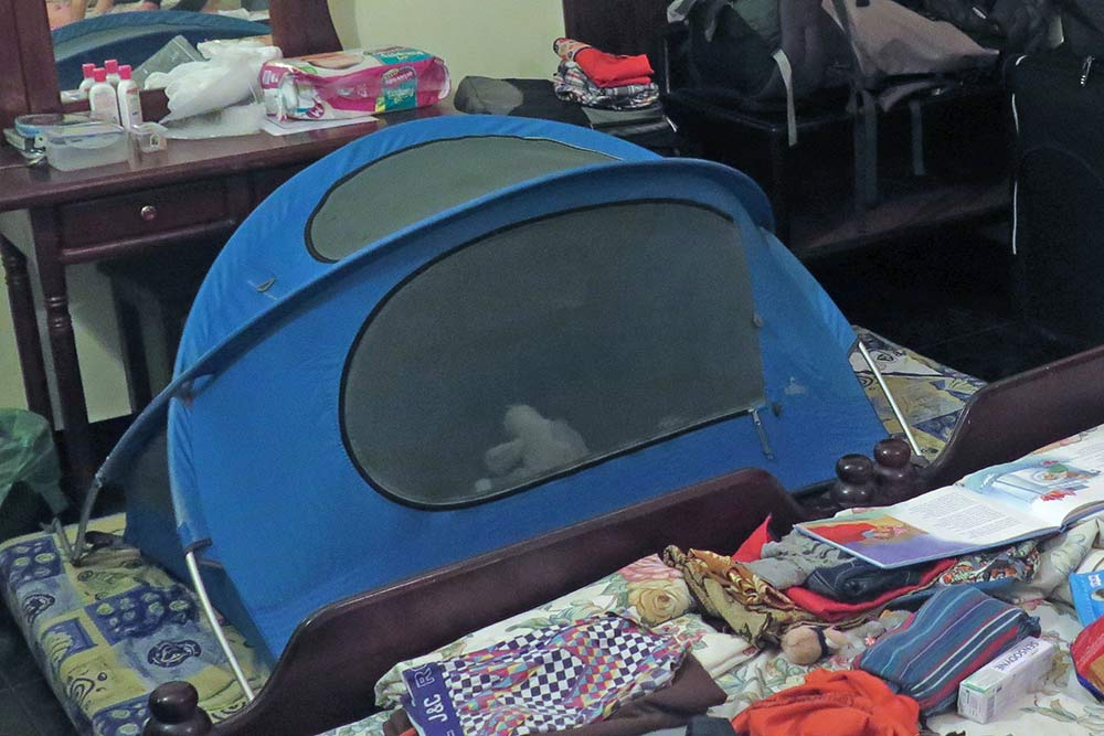 Our little one's Nomad travel tent. His safe and familiar place to sleep each night.