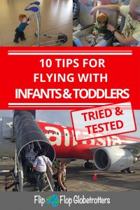FlipFlopGlobetrotters.com - tips for flying with infants & toddlers pin