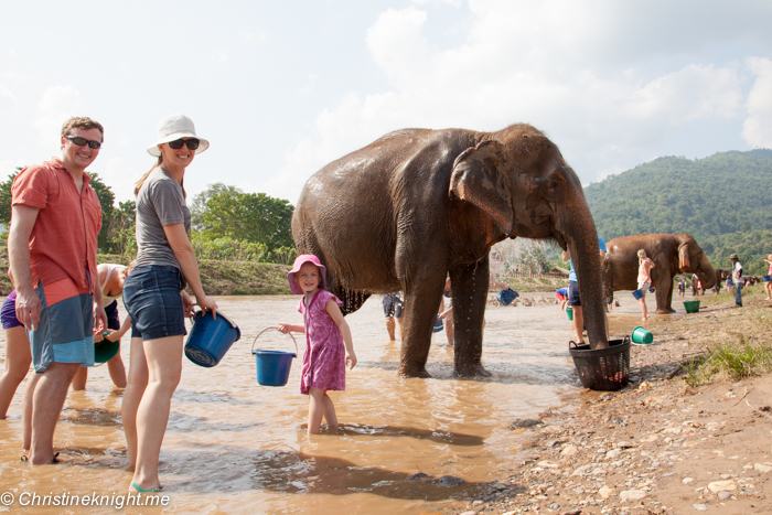 FlipFlopGlobetrotters.com - Blog: Can you still travel with kids - washing elephants in Thailand