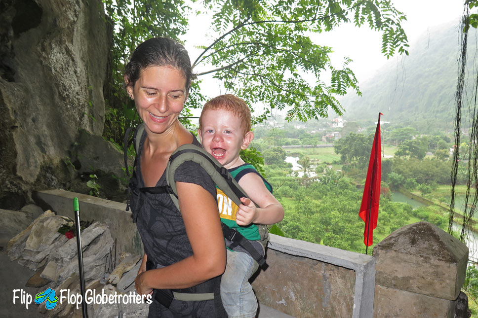 FlipFlopGlobetrotters.com - blog - review manduca baby carrier - wandering around hospital cave, Cat Ba Island, Vietnam