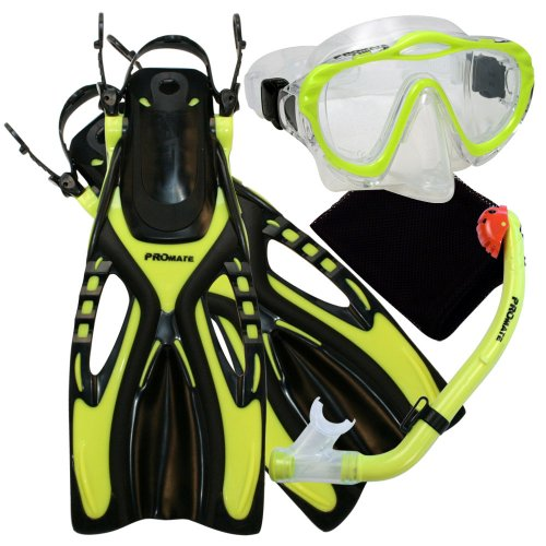 ab690438144 This Promoate snorkel set with a kids snorkel, mask and fins comes in two  sizes: S/M (shoe size 9-13, for ages 3-6 years) and L/XL (shoe size 1-4, ...