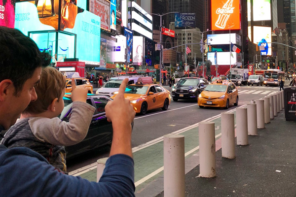 FlipFlopGlobetrotters.com - best places to visit in usa with kids - New York City with kids Times Square