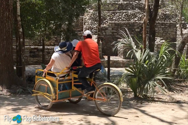 FlipFlopGlobetrotters - Mayan ruins Coba, getting around by pedicab / bicycle taxi