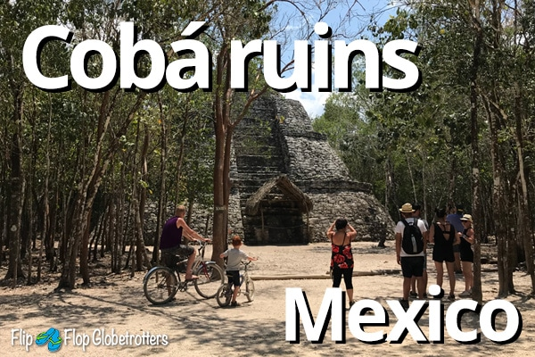FlipFlopGlobetrotters -  exploring Coba ruins Mexico by bike