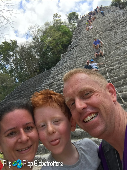 FlipFlopGlobetrotters - family selfie at Coba ruins Yucatan