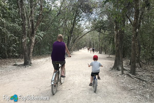 FlipFlopGlobetrotters - coba ruins, bike riding on the white roads