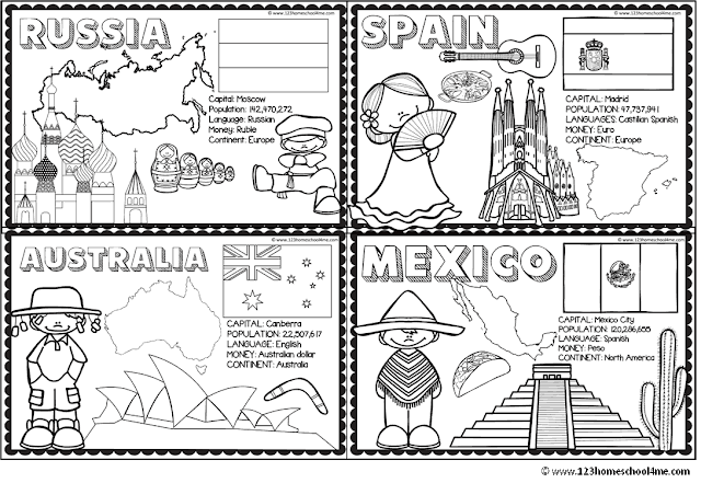 123 Homeschool 4 Me - Countries for kids coloring book